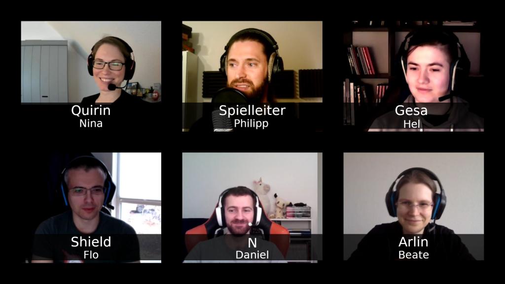 Ein Screenshot aus der Aufnahme der ersten Session mit dem Spielleiter Philipp und den Spieler:innen Nina, Hel, Flo, Daniel und Beate